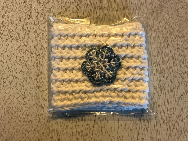 White Colored Snowflake Crochet Coffee Cozy Drink Sleeve image 0