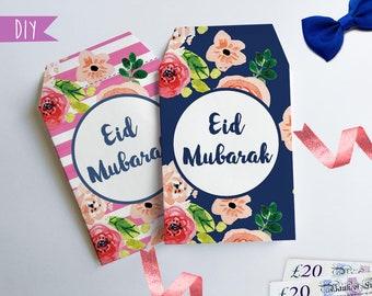 Printable Eid money envelopes, Money package envelope, DIY Eid decorations, Gift card envelope, Money envelope, Eid gift, Eid Mubarak gift