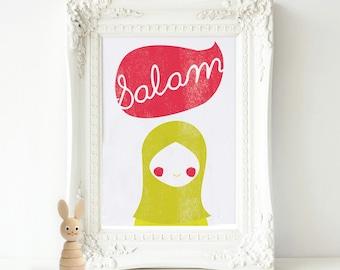 Muslim nursery print, Children's Islamic print, Salam, Islamic nursery decor, Islamic digital print, God nursery print, Modern Islamic print