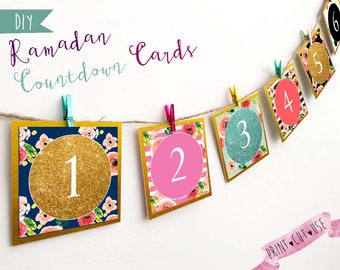 Ramadan countdown, Ramadan advent calendar, Printable Ramadan decorations, Ramadan 30 days, Ramadan decorations, Ramadan printable calendar