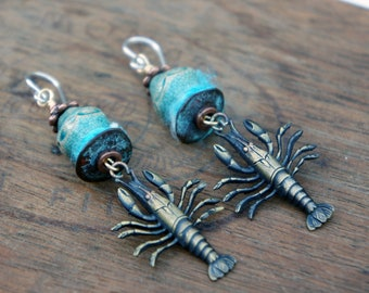 Unique Artisan Earrings with French Brass Lobsters Blue Ceramic Crackle Beads and Fibre Wrapping