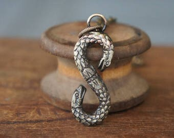 Two Headed Snake Serpent Pendant Necklace