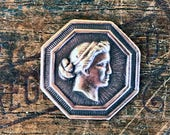 Vintage French Brass Stamping Antique Style Neoclassical Cameo Octagon French Findings A16
