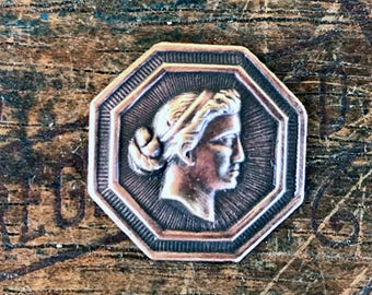 Vintage French Brass Stamping/Antique Style/Neoclassical/Cameo/Octagon/French Findings