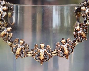 Cherub Fairy French Brass Bracelet