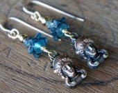 Artisan Boho Earrings with Classical Greek Goddess Woman Face French Brass Drops and Czech Glass Beads
