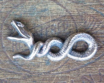 Vintage French Brass Stamping/Antique Style/Twisting Serpent/Snake/Fierce/French Findings