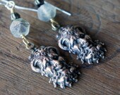 Artisan Boho Earrings with Cheeky Horned Man Devil Diablo Green Man Drops and Czech Glass Beads