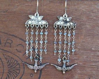 Five Strand Vintage Rhinestone, Labradorite and Bird Earrings Hollywood Glam Tassel