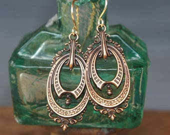 Elegant Victorian Style French Brass Earrings