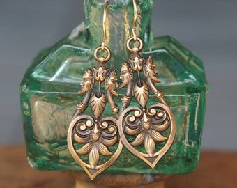 Highly Detailed Victorian Style Punch and Judy Brass Earrings