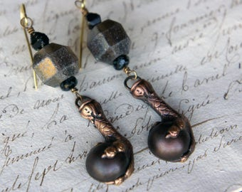 Bird Claw Clutching Black Ball Gothic Grey Mercury Glass Dramatic Earrings French Brass Antique Vintage Style