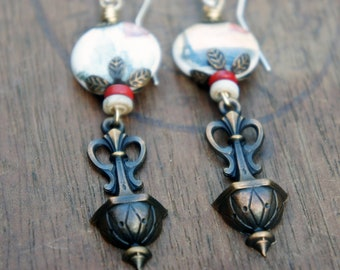 Unique Artisan Earrings with Porcelain Paris Postcard Beads and French Brass Drops