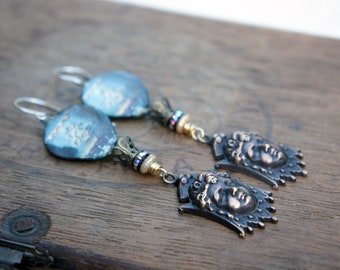 Unique Artisan Earrings with Hot Air Balloon Ceramic Connectors and French Brass Cherub Faces