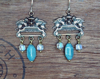 Chandelier Earrings with Gothic Griffons and Czech Glass Beads