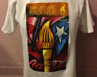 Atlanta Olympic Torch Relay T-Shirt M 90's Coca Cola