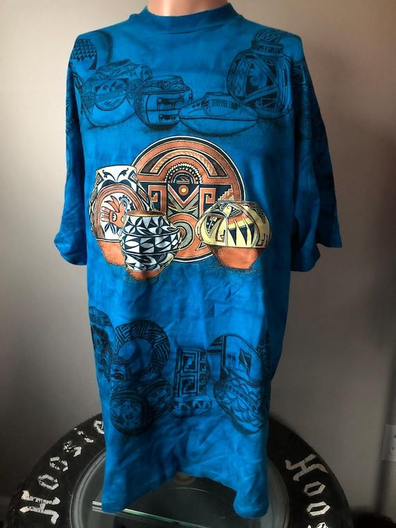 Vintage Aztec Pottery All Over Print T-Shirt XL 90