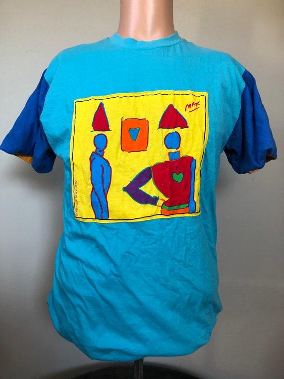 Vintage Peter Max Reversible Art T-Shirt M 90's
