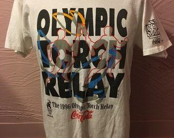 Coca Cola Olympic Torch Relay Atlanta 1996 T-Shirt M 90's