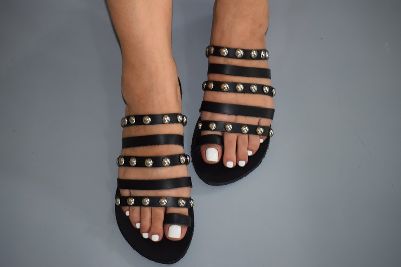 Boho Sandals Studs Sandals Bohemian Sandals Strappy Sandals Leather Sandals Greek Sandals Luxury Sandals