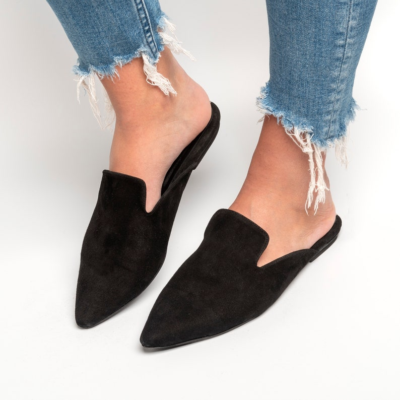 Mules black Suede Leather Mules Pointed