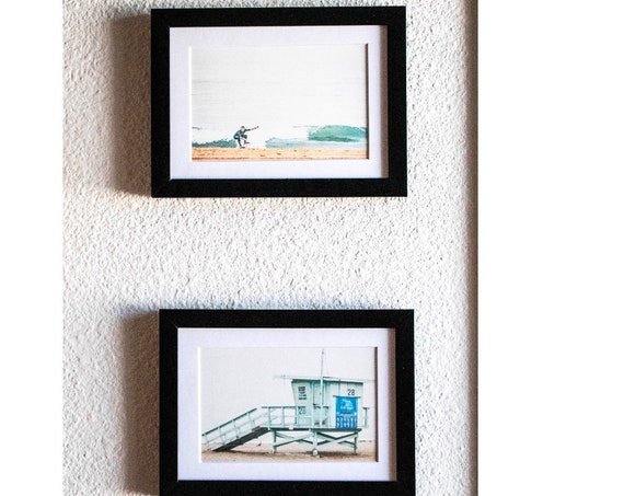 Beach Color Photo Set, Surfer, Lifeguard Hut, Wall Decor, White Mat, Black Frame, 5 x 7 Prints, 11 x 14 Prints