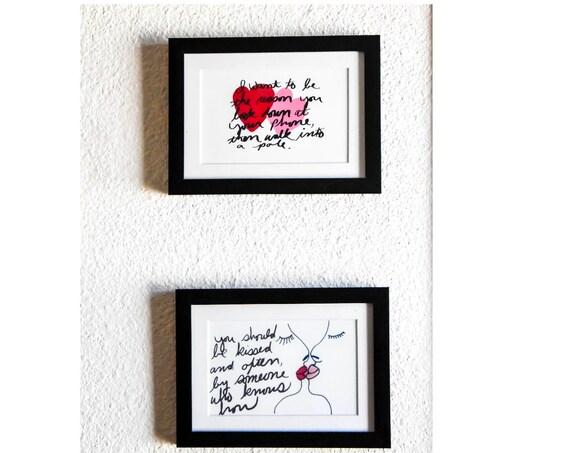 Valentine's Day Print Set, Wall Decor, White Mat, Black Frame, 5 x 7 Print