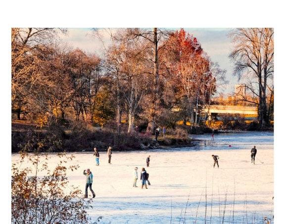 Ice Skaters on a Frozen Pond Digital Download