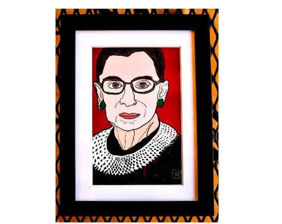 Ruth Bader Ginsburg Print, Notorious RBG, Color Illustration, Wall Decor, White Mat,  Black Frame, 5 x 7 Print, 11 x 14 Print