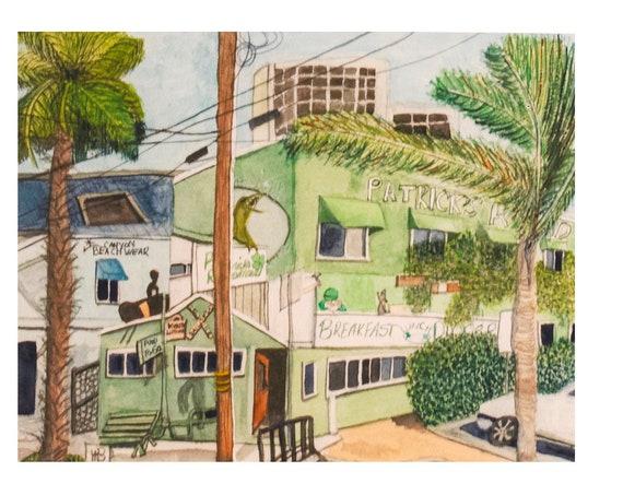 Patrick's Roadhouse, Watercolor Painting, Digital Download