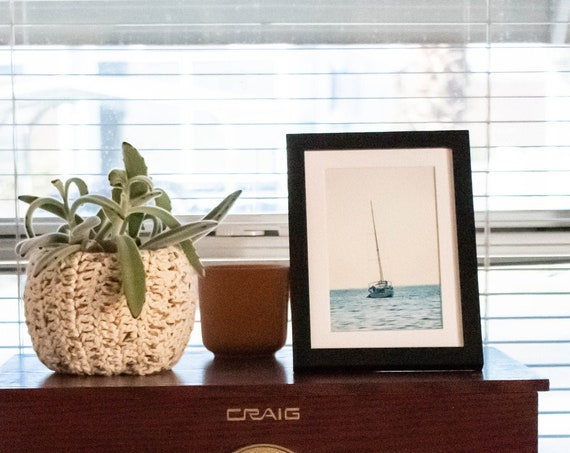 Sailboat at Sea, Color Photograph, Wall Decor, White Mat, Black Frame, Rustic Frame, 5 x 7 Photo, 8 x 10 Photo, 11 x 14 Photo