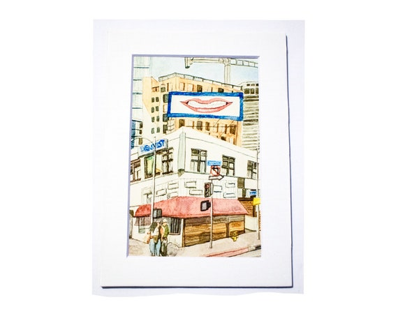 Los Angeles Watercolor Print, Wall Decor, Color Print, White Mat, 5 x 7 Print
