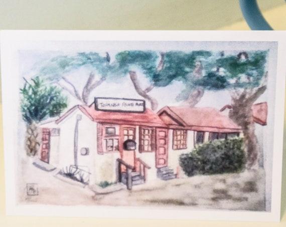 Topanga Ranch Motel Greeting Card, Watercolor Print Greeting Card, Urban Sketch, Blank card, 5 x 7 Card