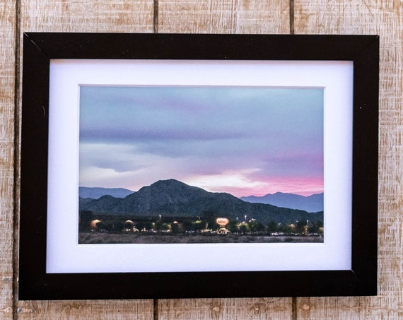 Indio Sunset, Color Photograph, Wall Decor, White Mat, Black Frame, Rustic Frame, 5 x 7 Photo, 8 x 10 Photo