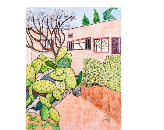 Cactus Garden, Colored Pencil Drawing, Wall decor, 23 x 19 Drawing