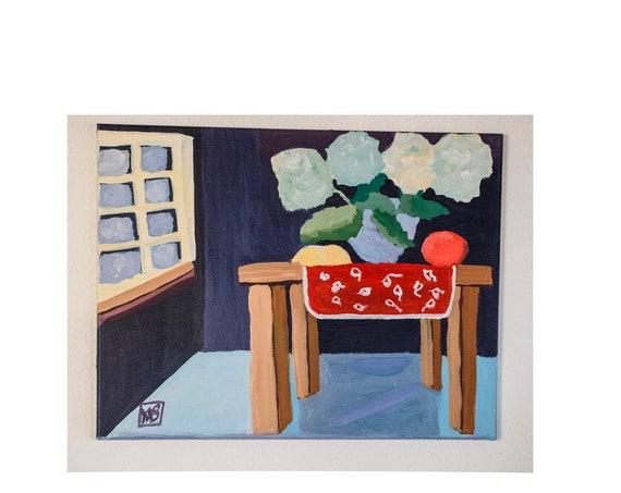 Hydrangeas in Vase, Acrylic Painting, Still Life, Canvas Painting, Wall Decor, 16 x 24 painting