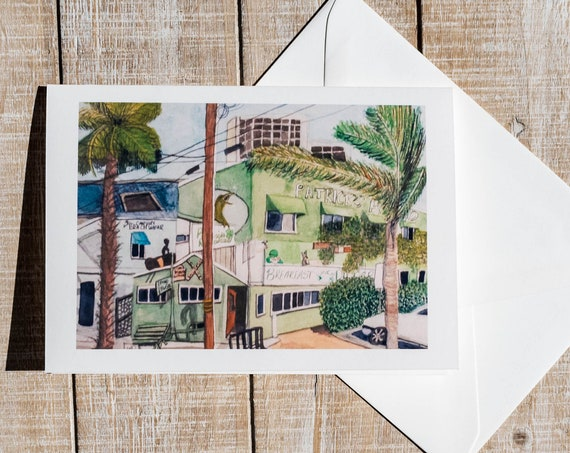 Patrick's Roadhouse Greeting Card, Watercolor Print Greeting Card, Historic Restaurant Greeting Card, Blank Card, 5 x 7 Card