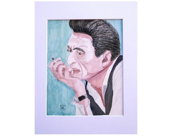 Johnny Cash, Original Watercolor Painting, Wall Decor, White Mat, 11 x 14 Painting