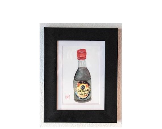 Kikkoman Soy Sauce, Original Watercolor Painting, Wall Decor, White Mat, Black Frame, 5 x 7 Painting