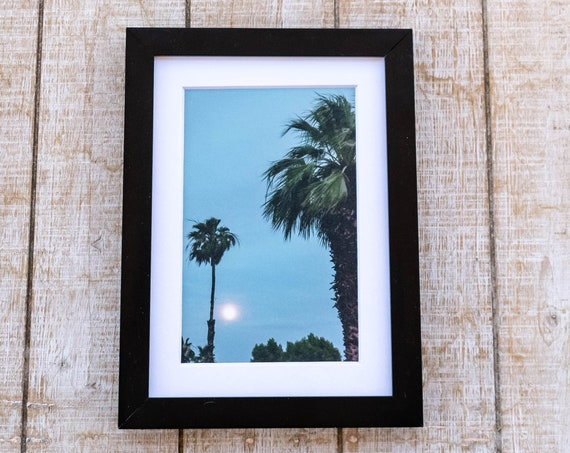 Moon and Palm Trees, Color Photograph, Wall Decor, White Mat, Black Frame, 5 x 7 Photo, 8 x 10 Photo