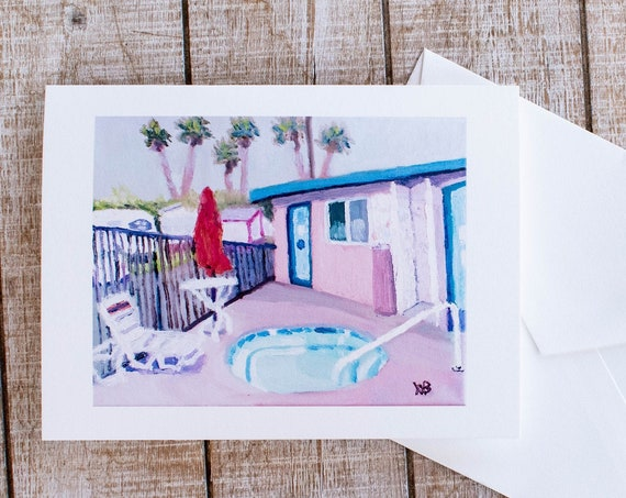 Pool House, Greeting Card, Oil Painting, Blank Card, 5.5 x 7.5 Card