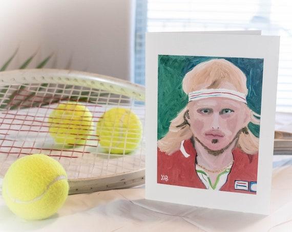 Bjorn Borg, Greeting Card, Color Photo, Tennis Photo, 5.5 x 7.5 Card