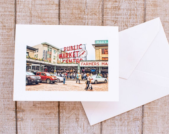 Pike Place Market, Greeting Card, Blank Card, 5.5 x 7.5 Card