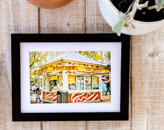 Popcorn Stand, Amusement Park, Color Photo, Wall Decor, White Mat, Black Frame, Rustic Frame, 5 x 7 Photo, 8 x 10 Photo