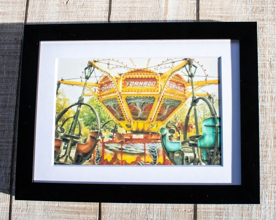 Tornado Ride, Amusement Park, Color Photograph, White Mat, Black Frame, Rustic Frame, 5 x 7 Photo, 8 x 10 Photo