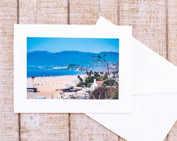 Santa Monica Beach, Greeting Card, Blank Card, Matching Envelope, 5.5 x 7.5 Card