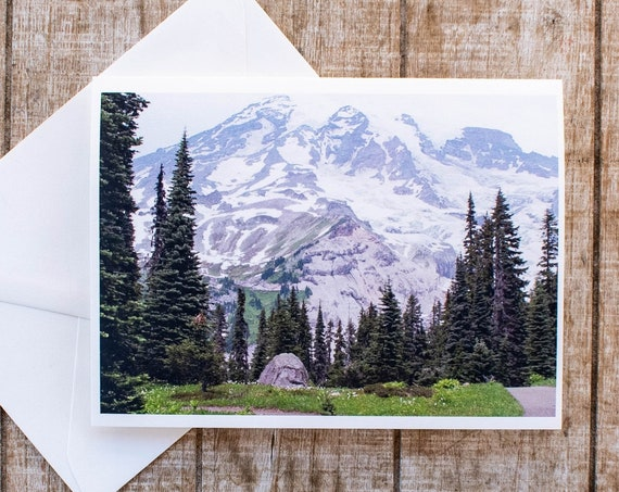Mount Rainier Greeting Card, Photo Card, Blank Card, 5 x 7 Card