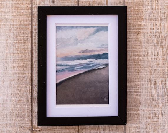 Oil Painting Print, Venice Beach Sunset, Wall Decor, White Mat, Black Frame, Rustic Frame, 5 x 7, 8 x 10, 11 x 14