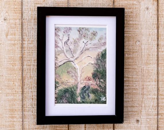 Oil Painting Print, Tree Landscape, Wall Decor, White Mat, Black Frame, Rustic Frame, 5 x 7, 8 x 10, 11 x 14