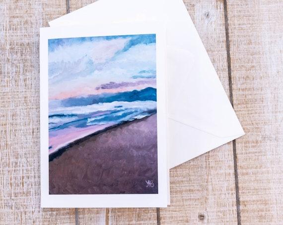 Venice Beach Sunset, Greeting Card, Oil Painting Print, 5 x 7 Card